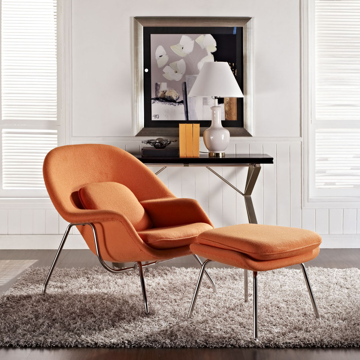 W Upholstered Fabric Lounge Chair With Ottoman Orange By Modway