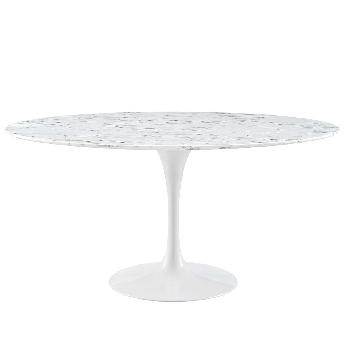 Lippa 60 Inch Round Artificial Marble Dining Table White ...