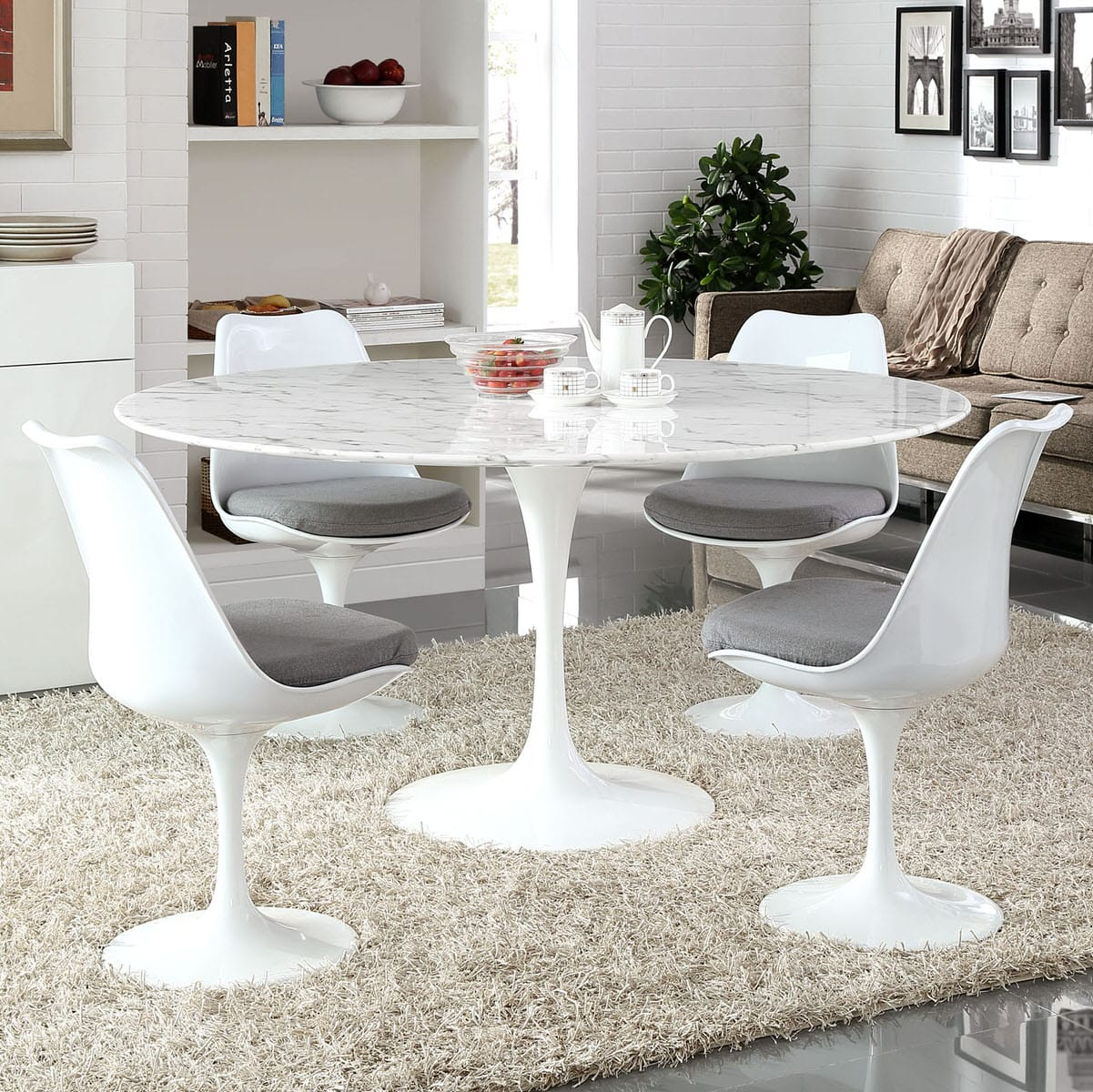 Lippa 60 Inch Round Artificial Marble Dining Table White