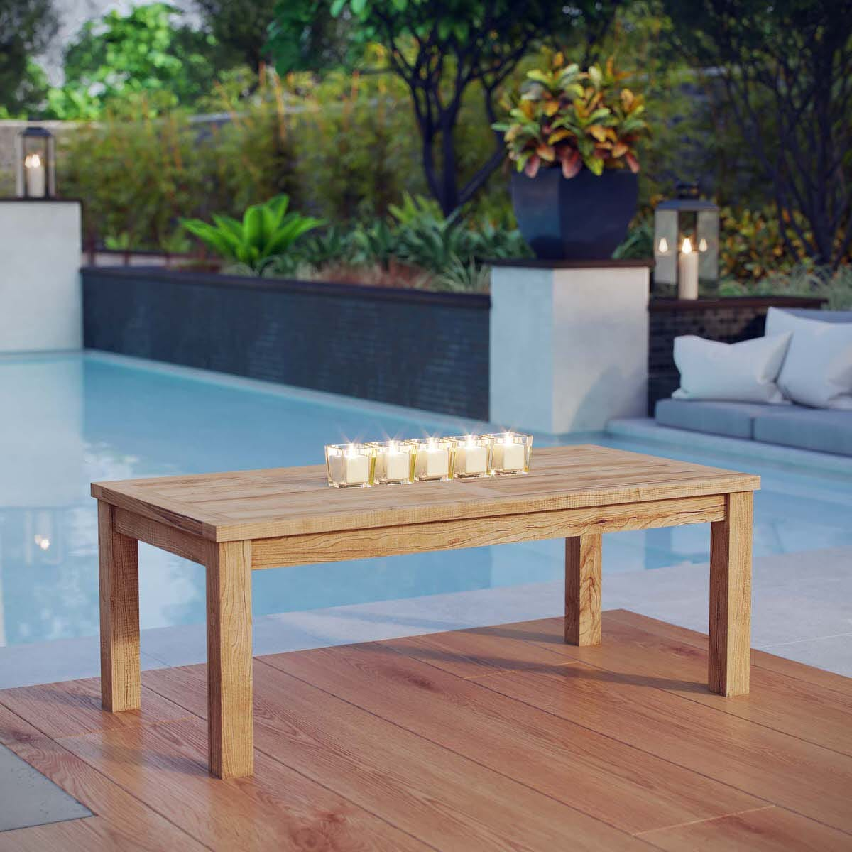 Marina Outdoor Patio Teak Rectangle Coffee Table Natural by Modern ...