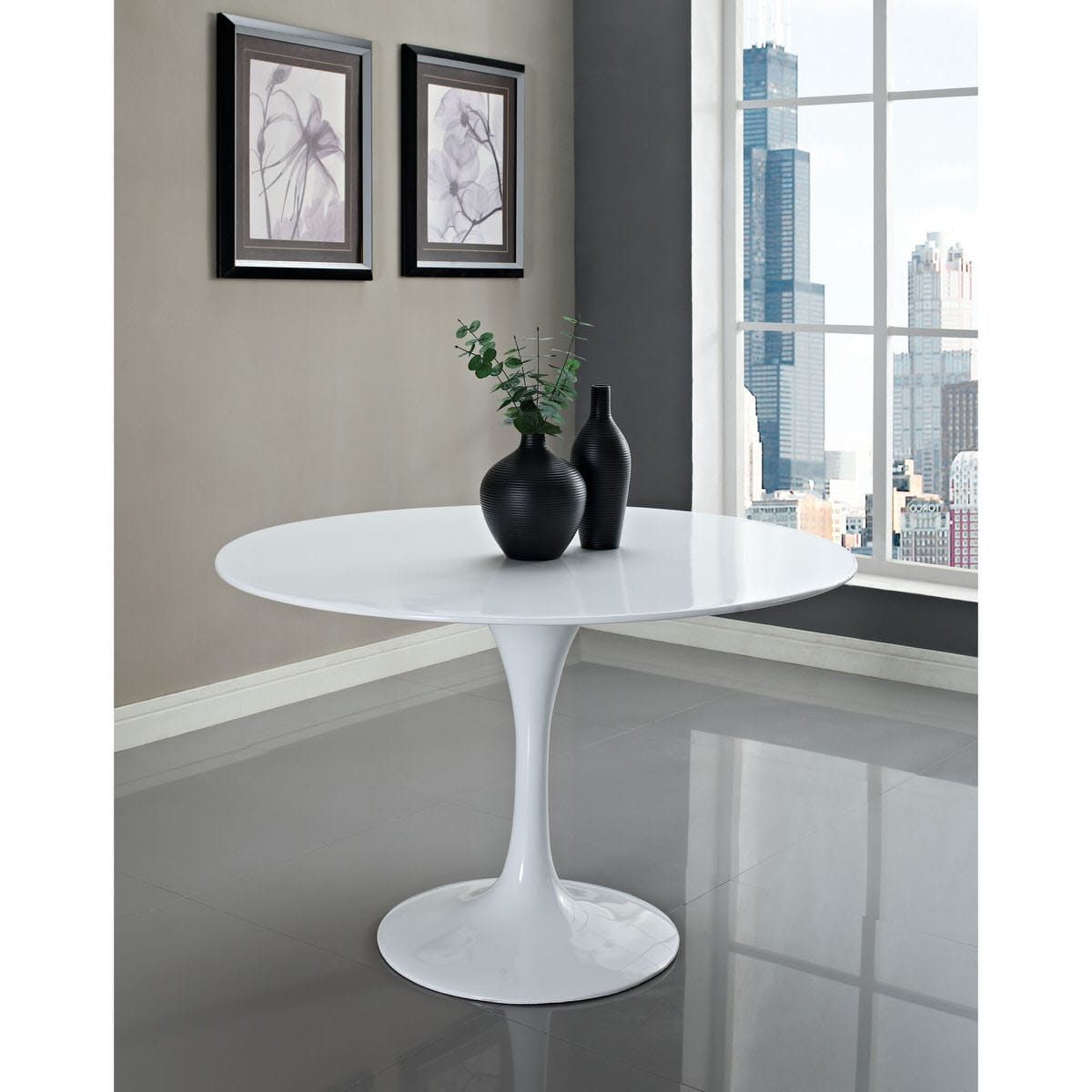 Lippa Inch Round Fiberglass Dining Table White By Modern Living - 48 inch round contemporary dining table
