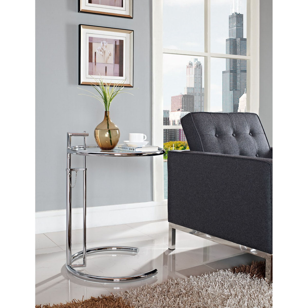 Eileen gray side table silver by modway geotapseo Images
