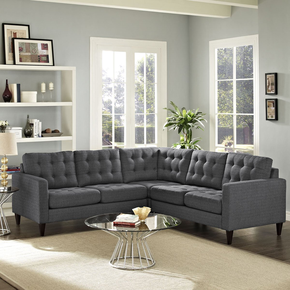 Empress 3 Piece Upholstered Fabric Sectional Sofa Set Gray by Modern Living