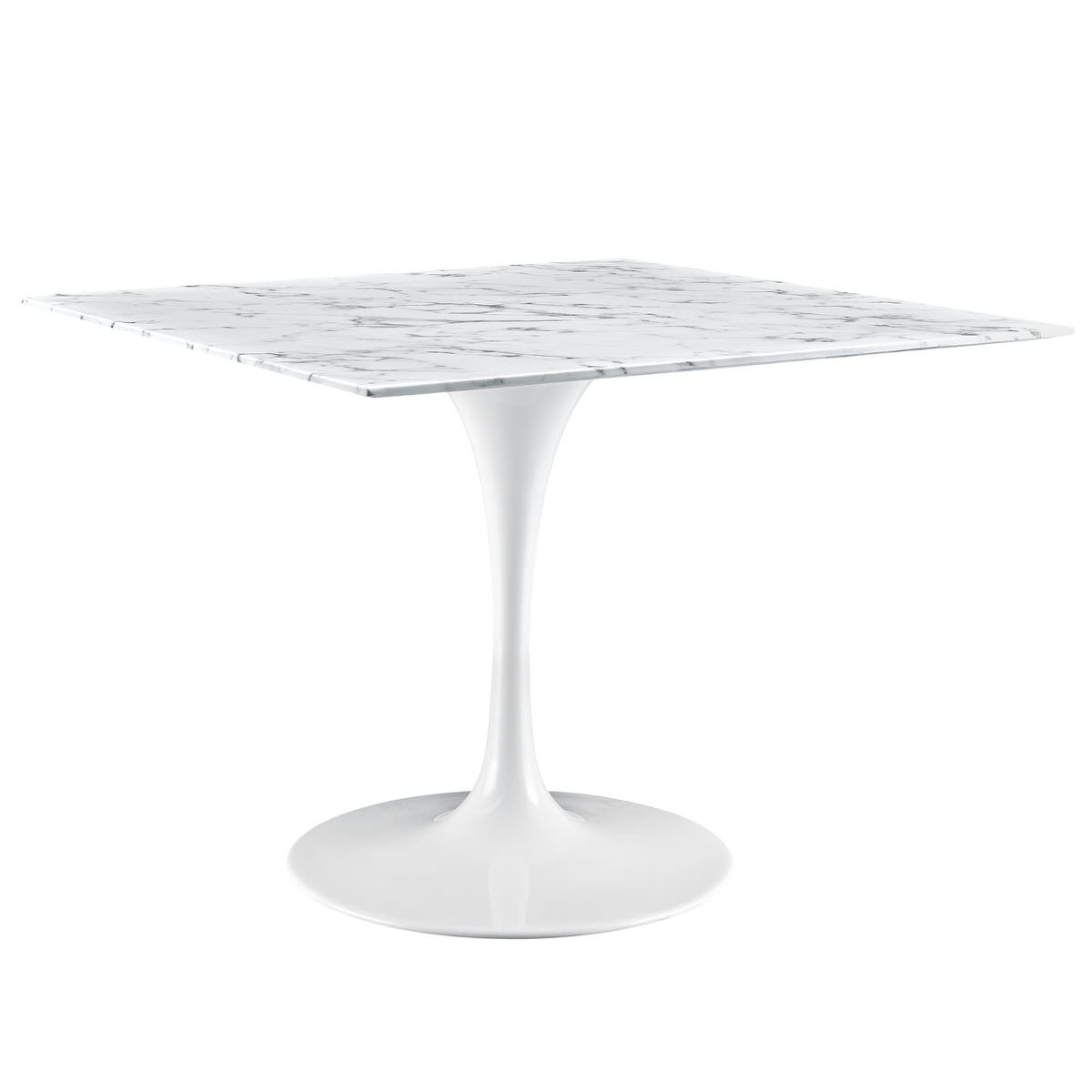 Lippa 40 inch square artificial marble dining table white by modway watchthetrailerfo