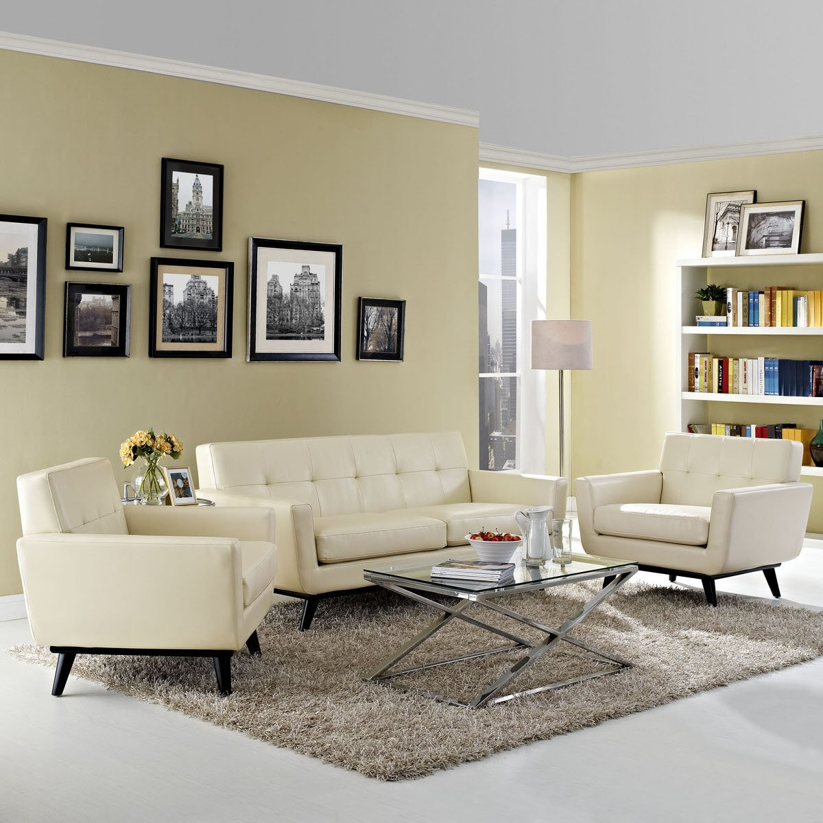 Engage 3 Piece Leather Living Room Set Beige by Modway