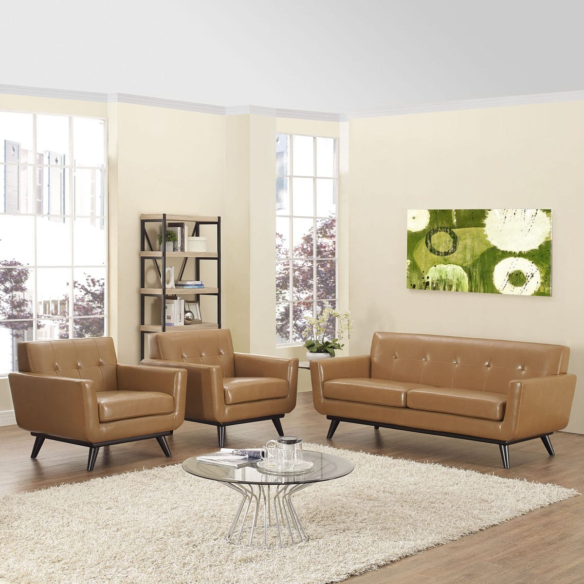 Engage 3 Piece Leather Living Room Set Tan by Modern Living