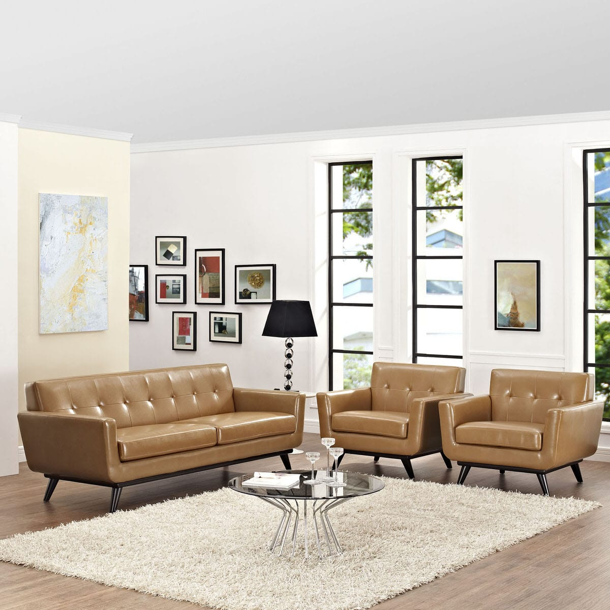 Engage 3 Piece Leather Living Room Set Tan by Modway