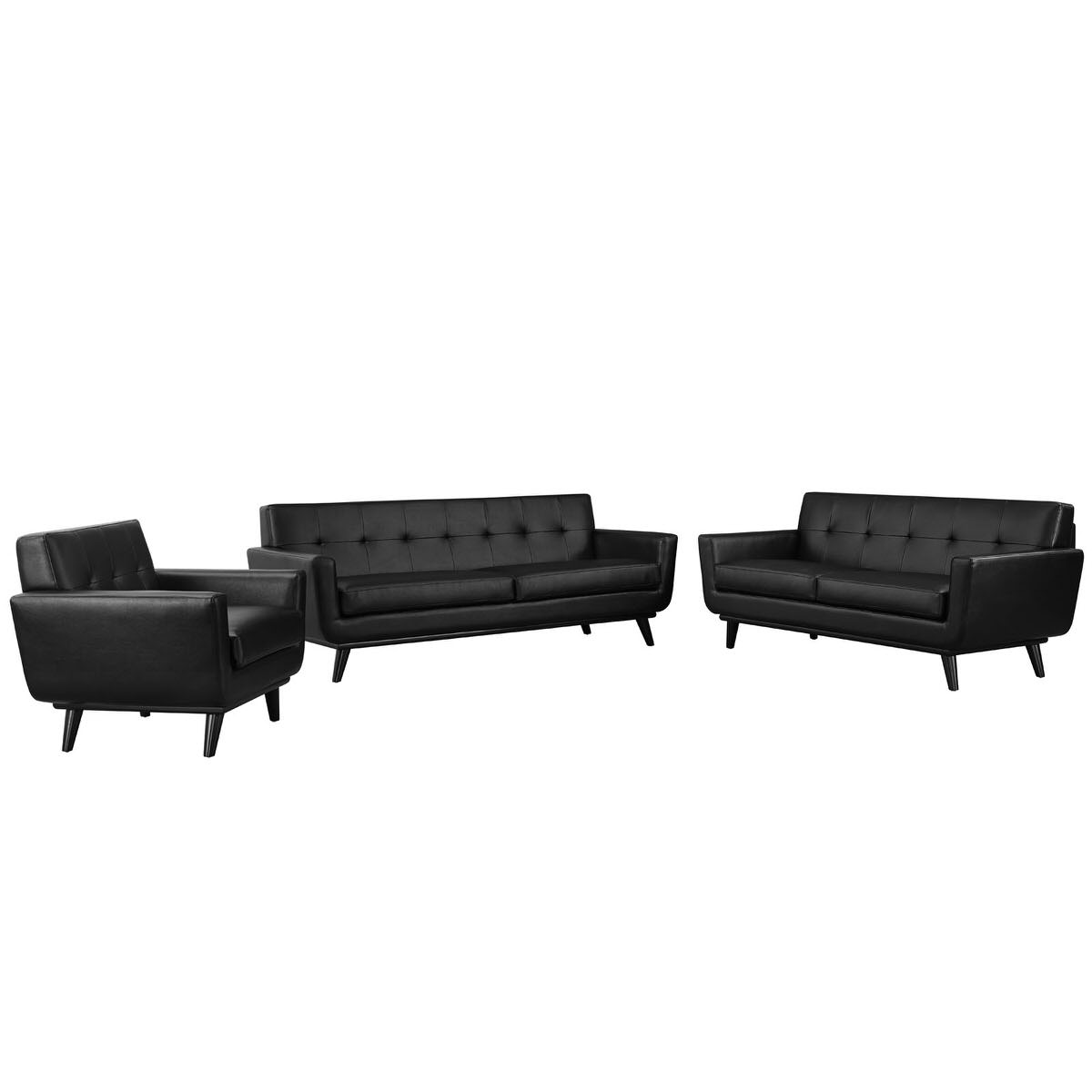 Engage 3 Piece Leather Living Room Set Black by Modern Living