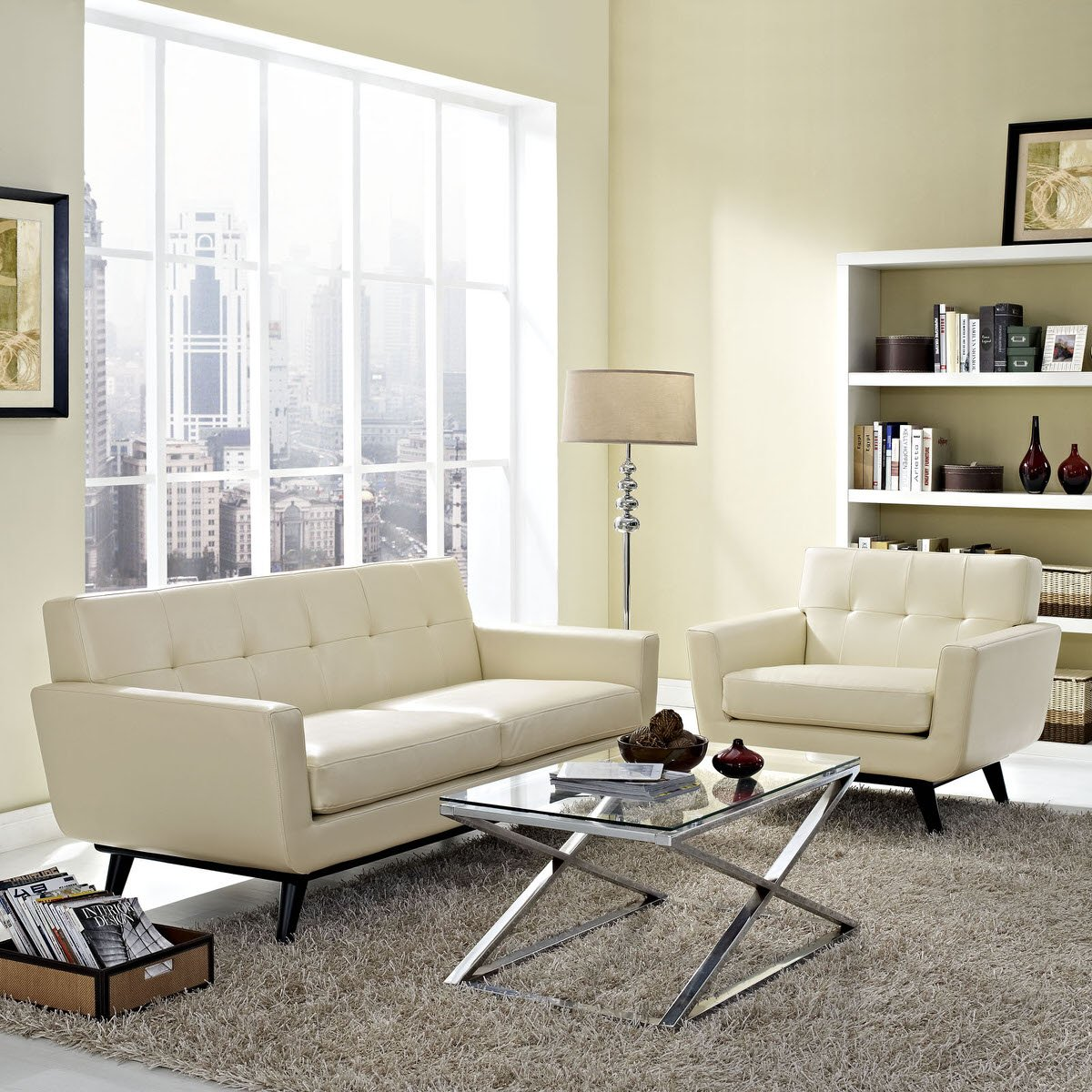 Engage 2 Piece Leather Living Room Set Beige by Modway