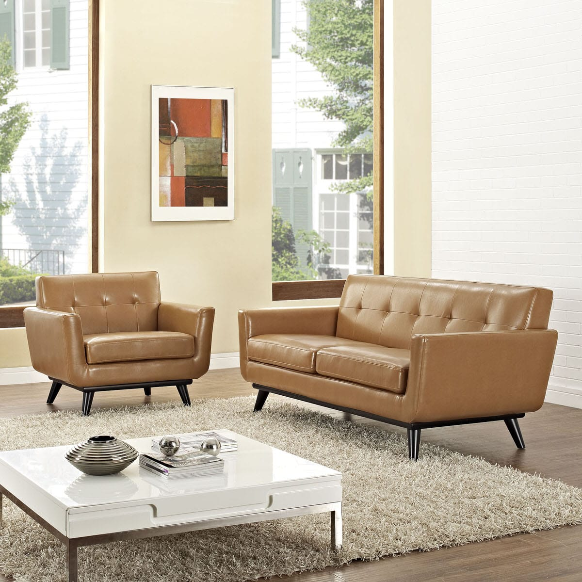 Engage 2 Piece Leather Living Room Set Tan by Modern Living