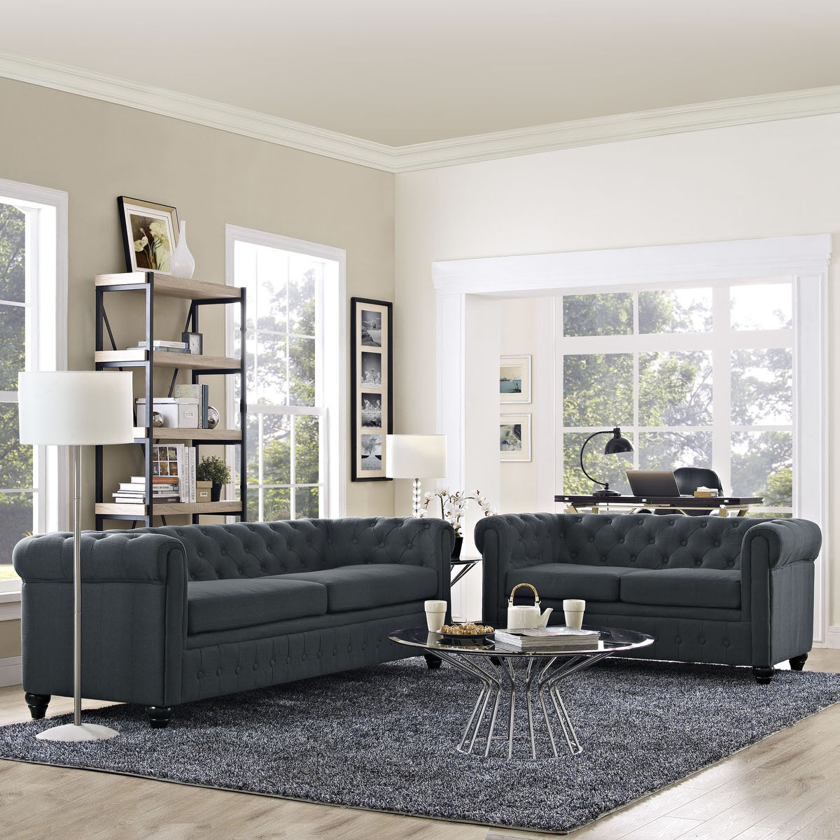 Earl 2 Piece Upholstered Fabric Living Room Set Gray by Modway