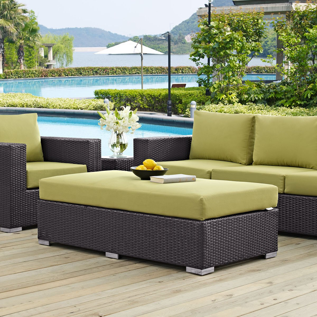 Convene Outdoor Patio Fabric Rectangle Ottoman Espresso Peridot By Modern  Living
