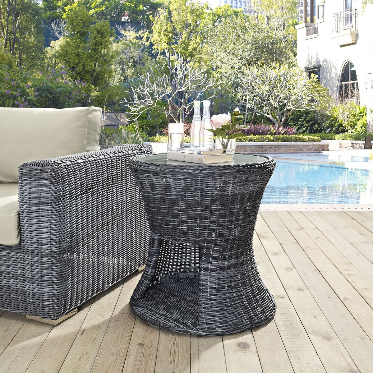 Summon Outdoor Patio Side Table Gray By Modern Living