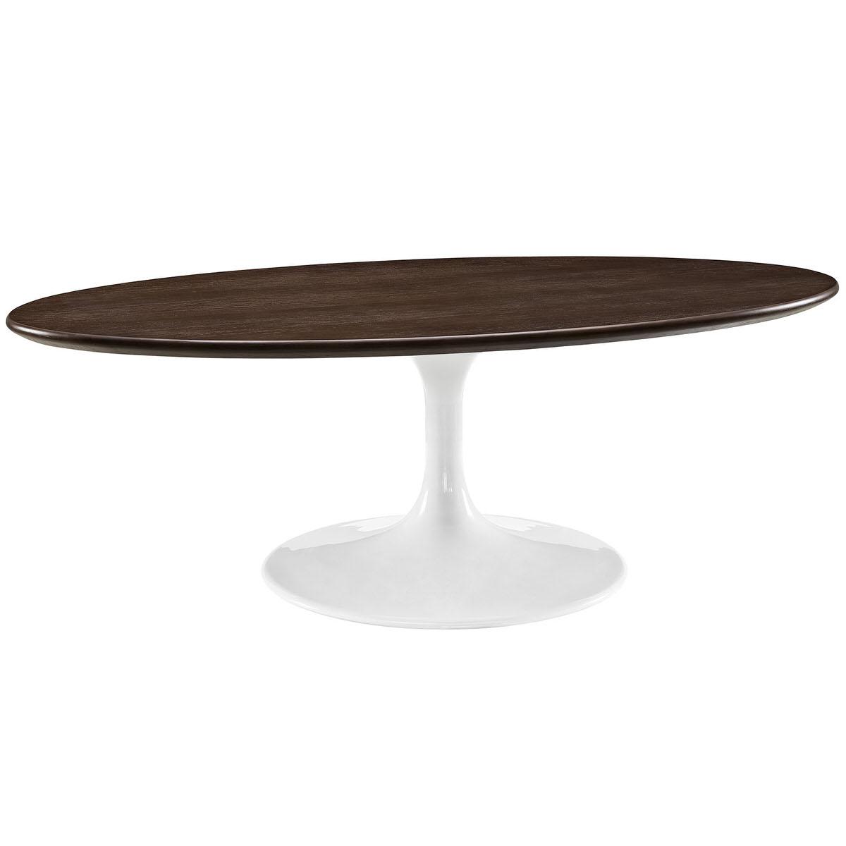 Lippa 48 inch oval shaped walnut coffee table walnut by modway geotapseo Gallery