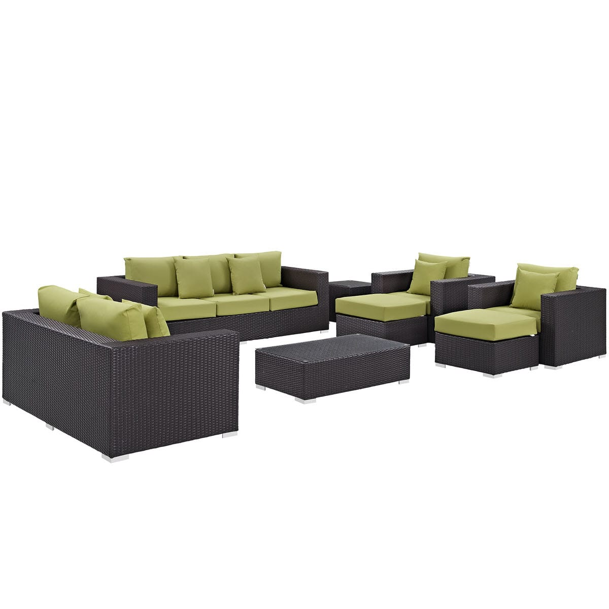 Convene 9 Piece Outdoor Patio Sofa Set Espresso Peridot by Modern Living