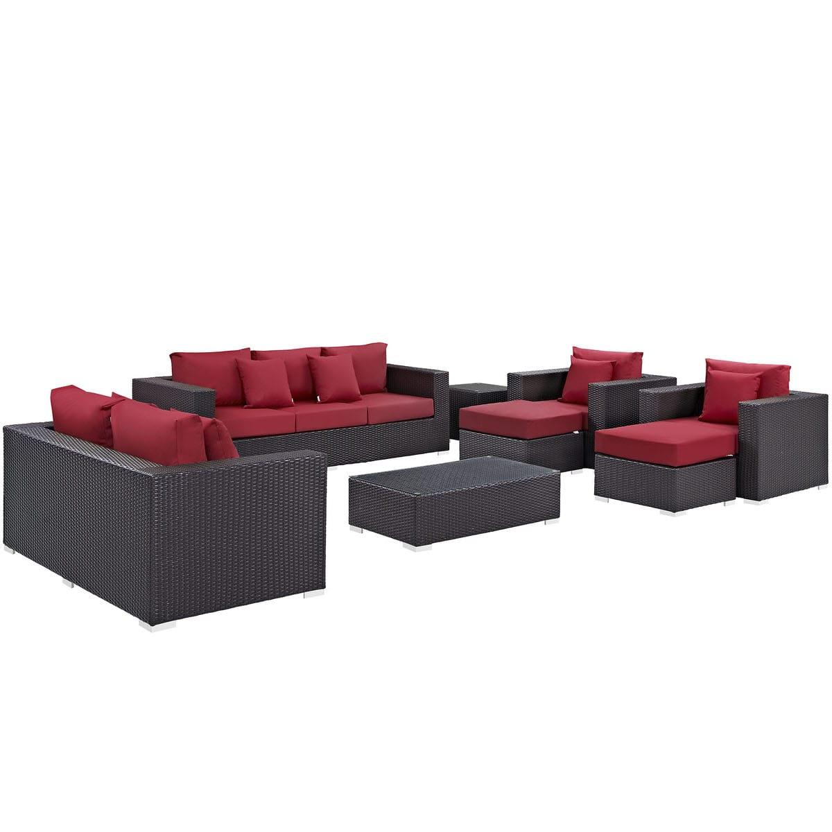 Convene 9 Piece Outdoor Patio Sofa Set Espresso Red by Modern Living