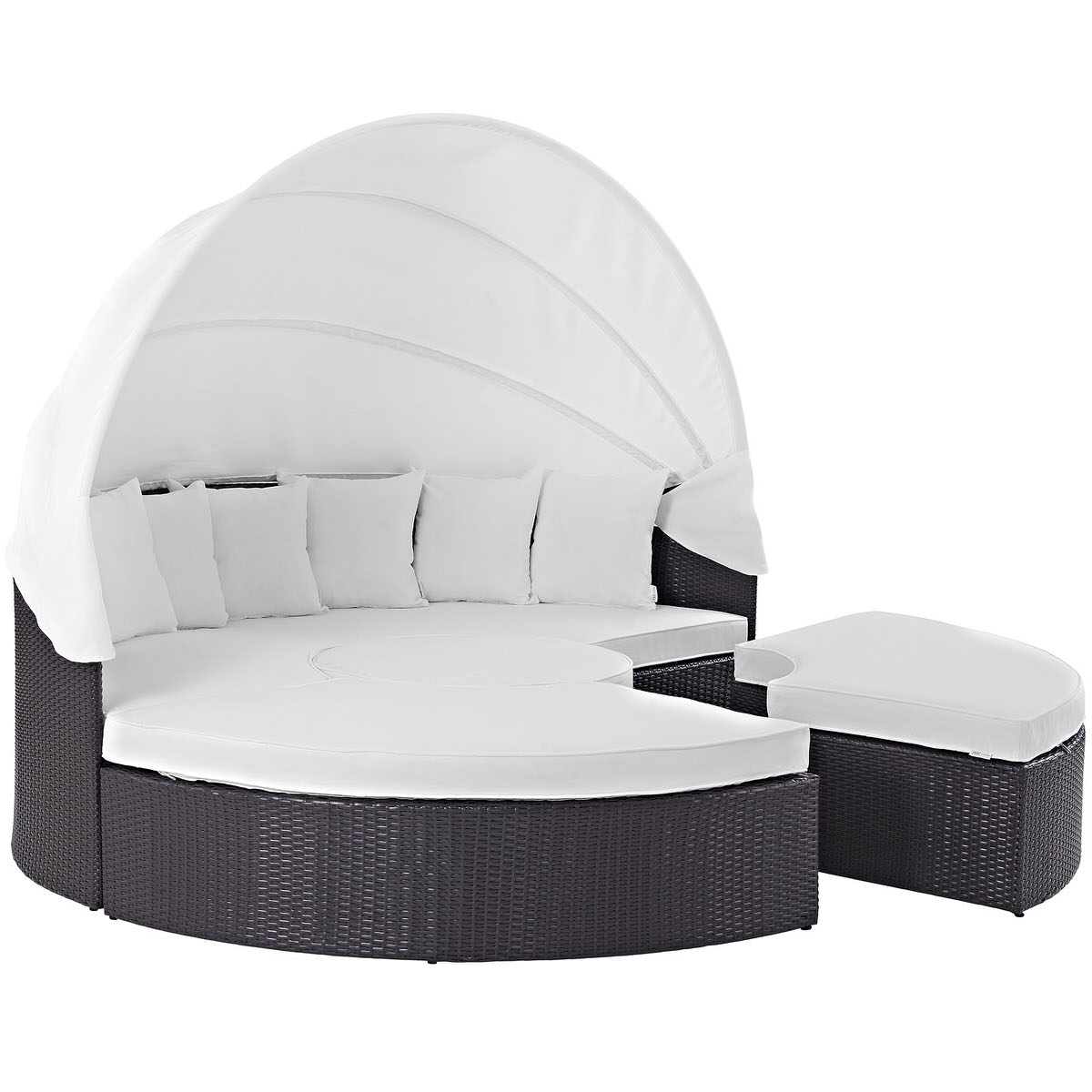 Convene Canopy Outdoor Patio Daybed Espresso White by Modern ...