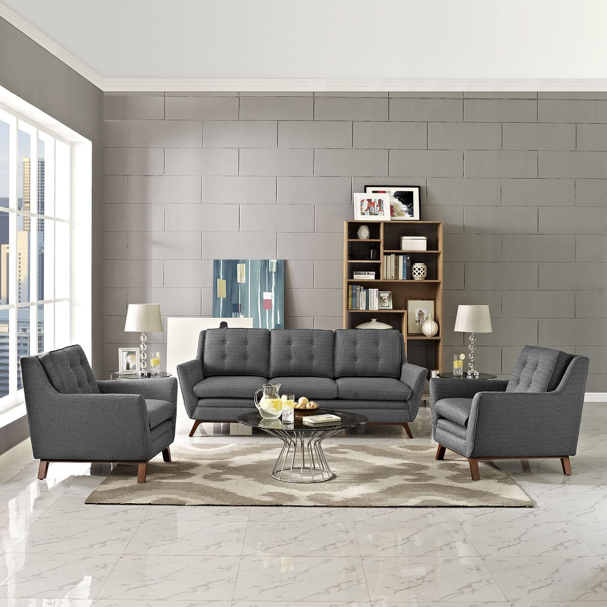 Beguile 3 Piece Upholstered Fabric Living