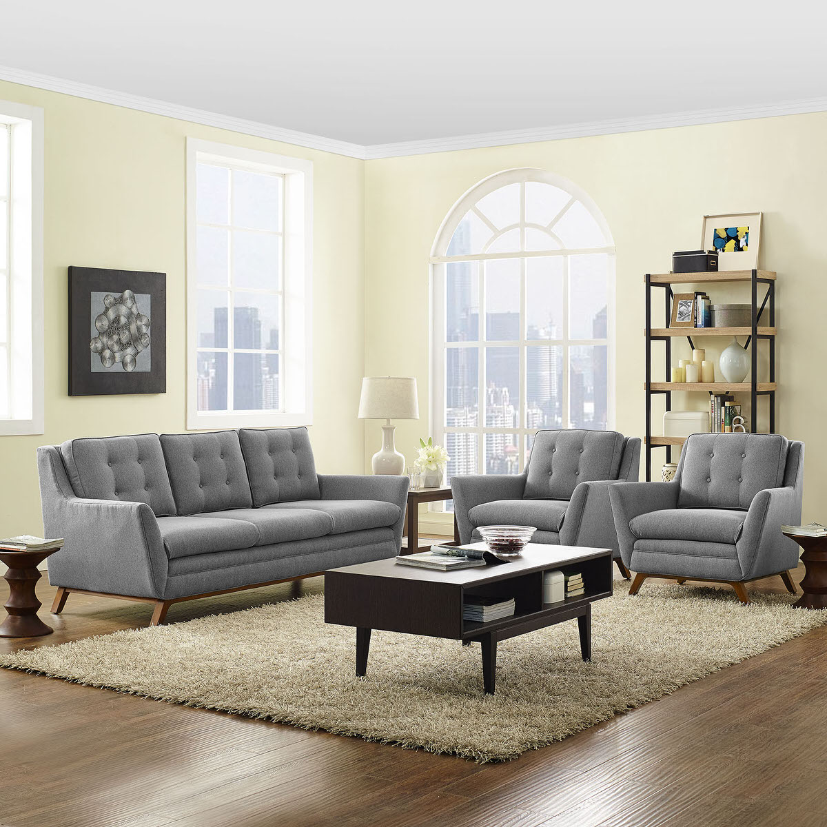 Beguile 3 Piece Upholstered Fabric Living Room Set Expectation Gray ...