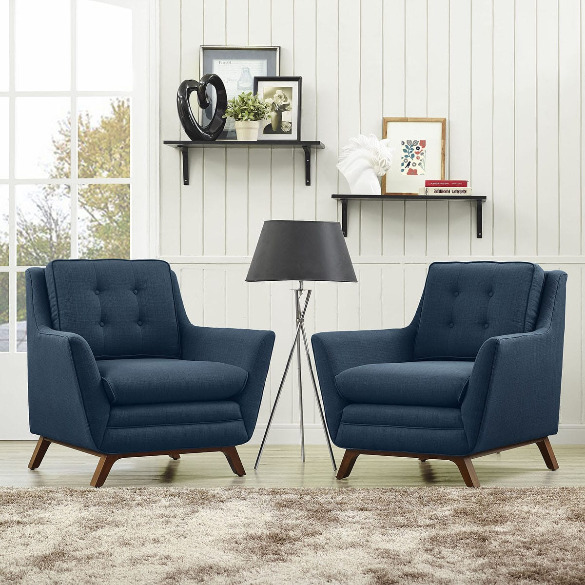Beguile 2 Piece Upholstered Fabric Living Room Set Azure by Modern ...