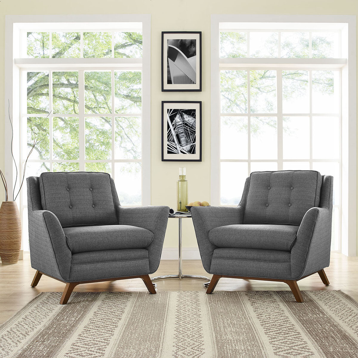 Beguile 2 Piece Upholstered Fabric Living Room Set Gray by Modern Living