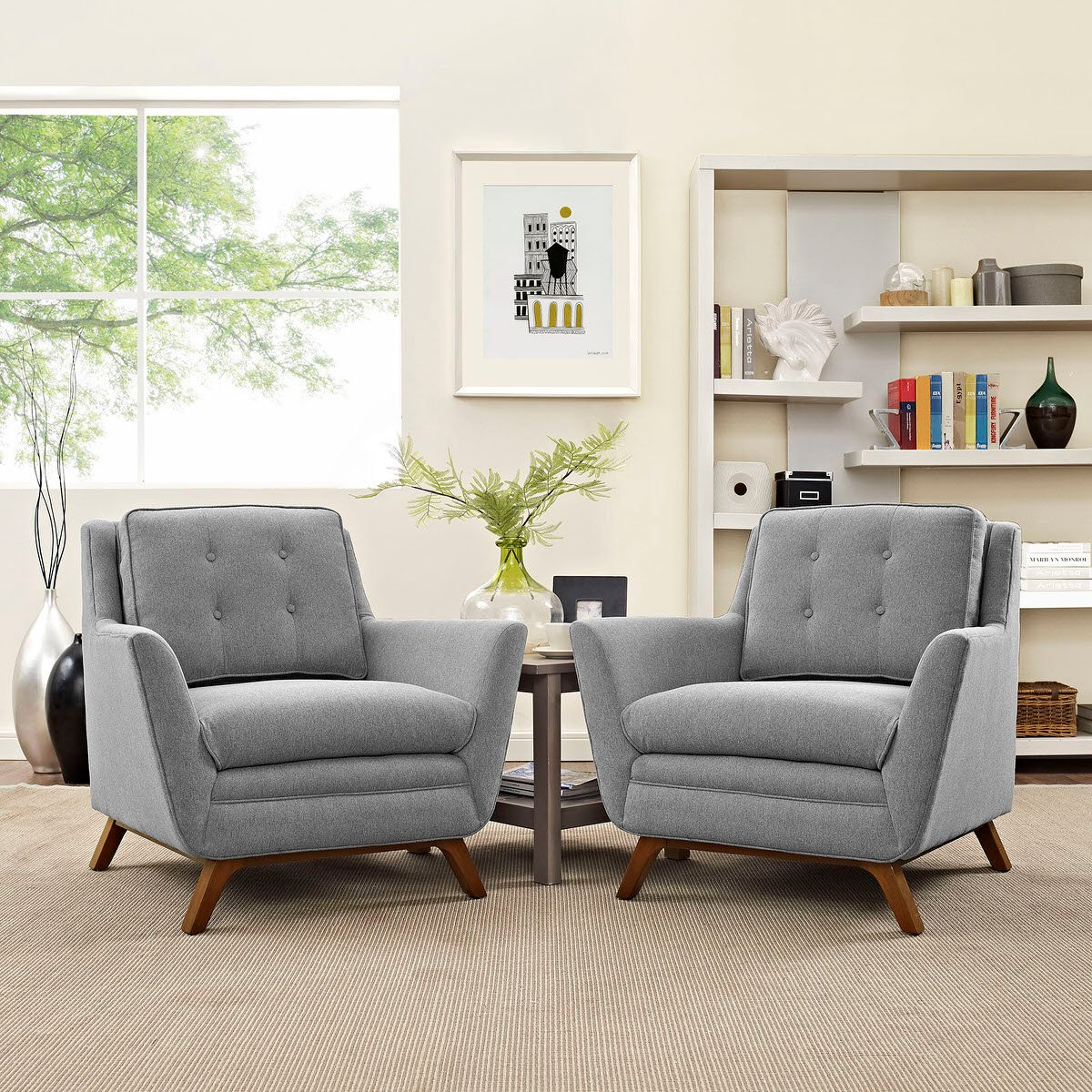 Beguile 2 Piece Upholstered Fabric Living Room Set Expectation Gray ...