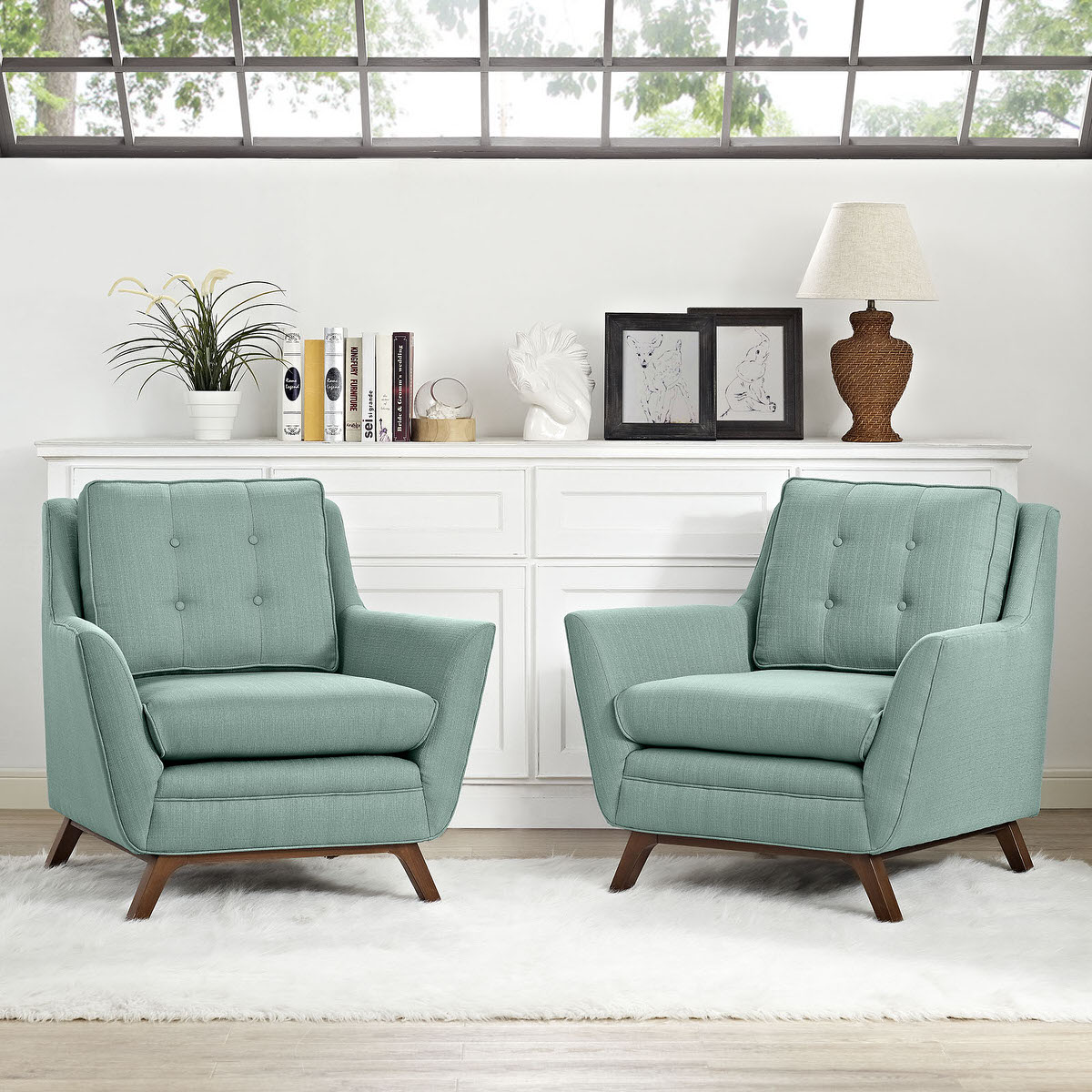 Beguile 2 Piece Upholstered Fabric Living Room Set Laguna by Modway