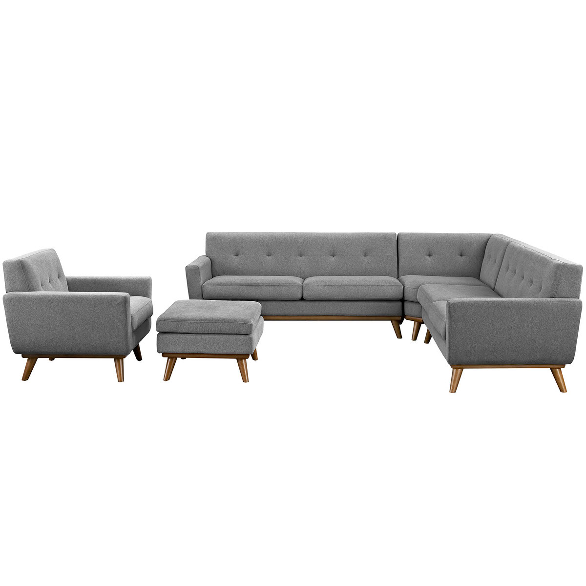 Engage 5 Piece Sectional Sofa Gray by Modern Living