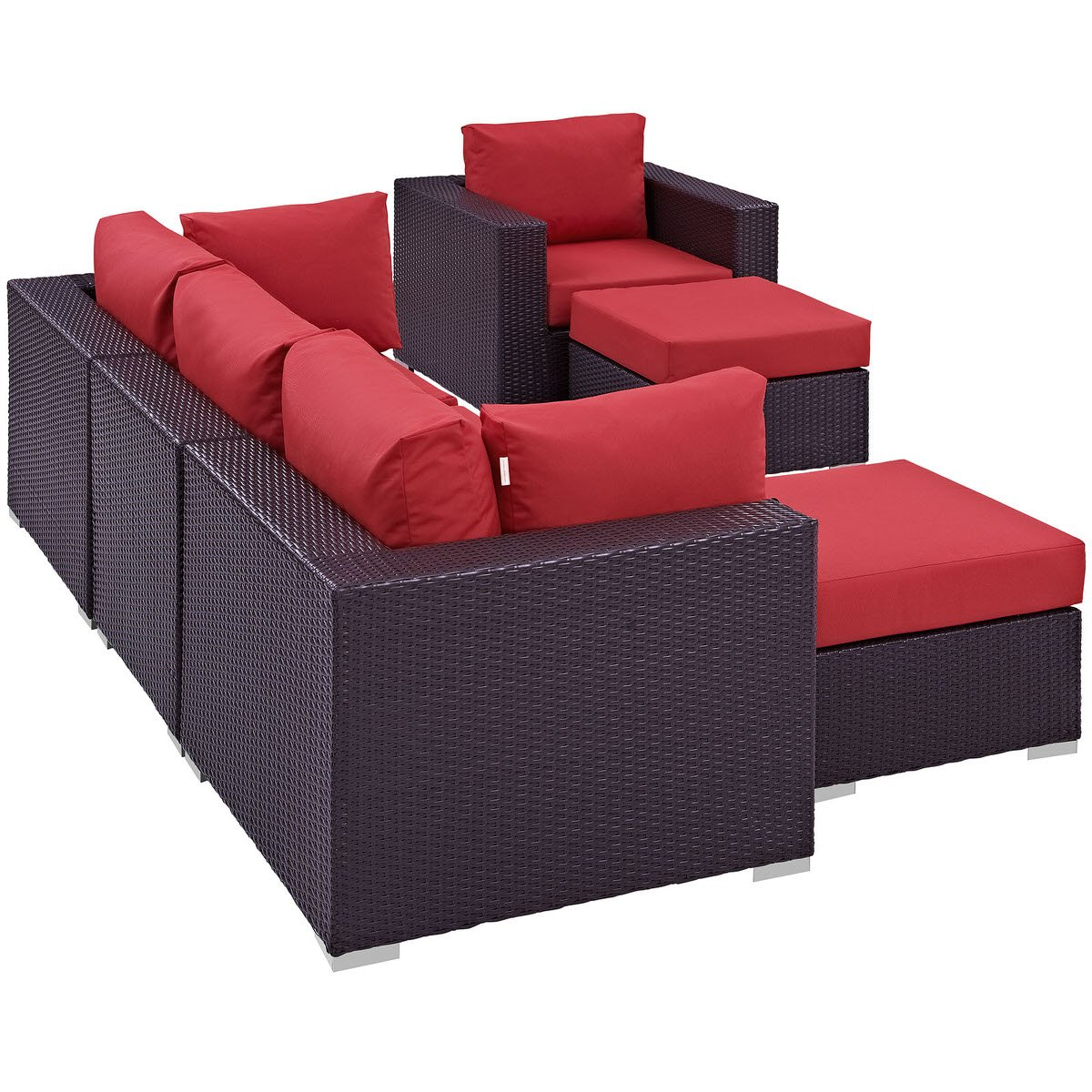 Convene 6 Piece Outdoor Patio Sectional Set Espresso Red By Modern Living