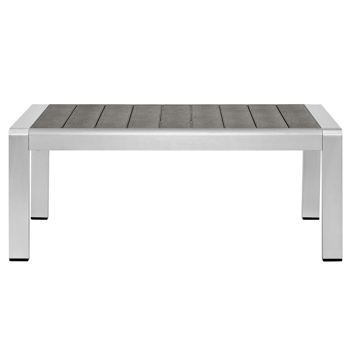Shore outdoor patio aluminum coffee table silver gray by modway geotapseo Gallery