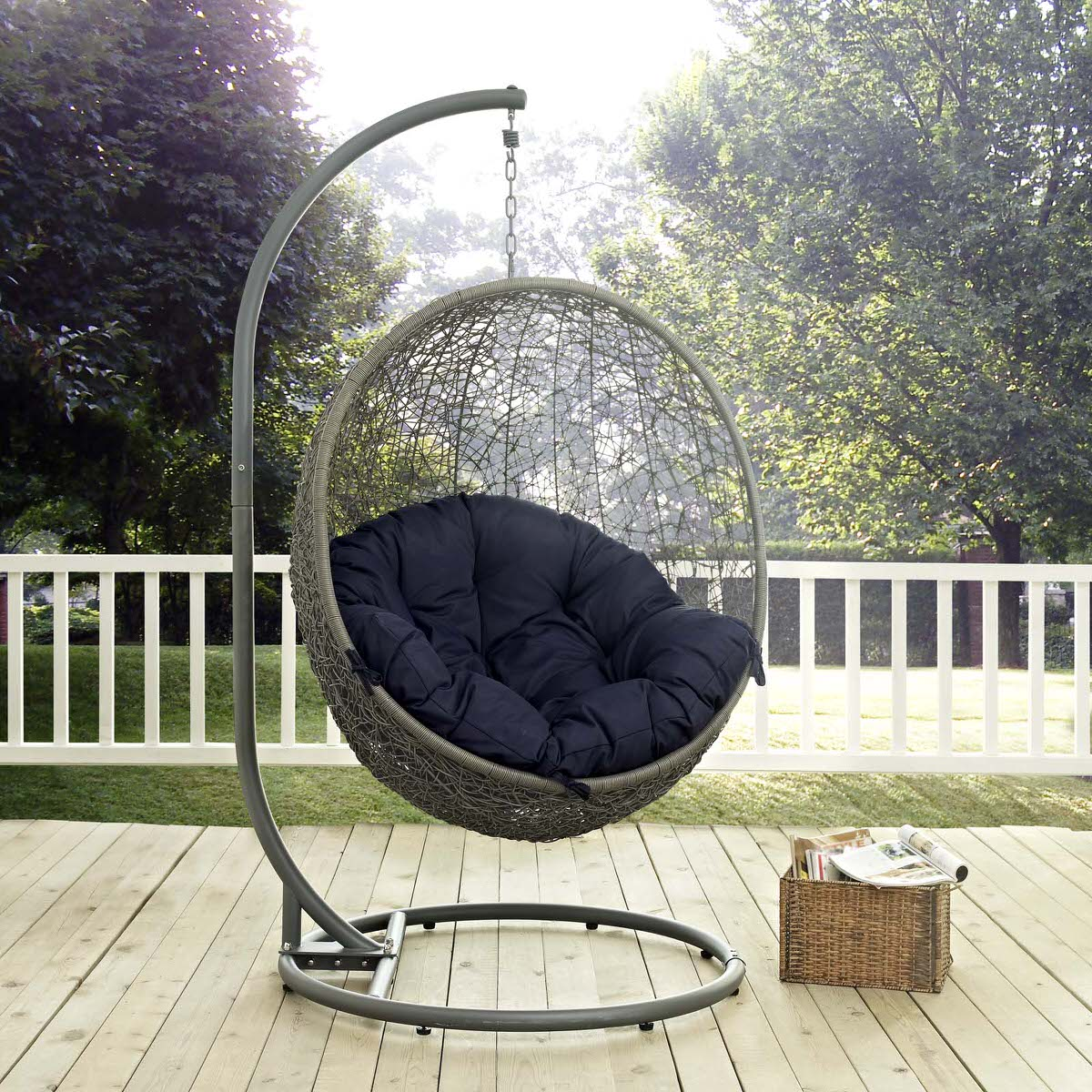 hide outdoor patio swing chair with stand gray navy by modern living - Patio Swing Chair