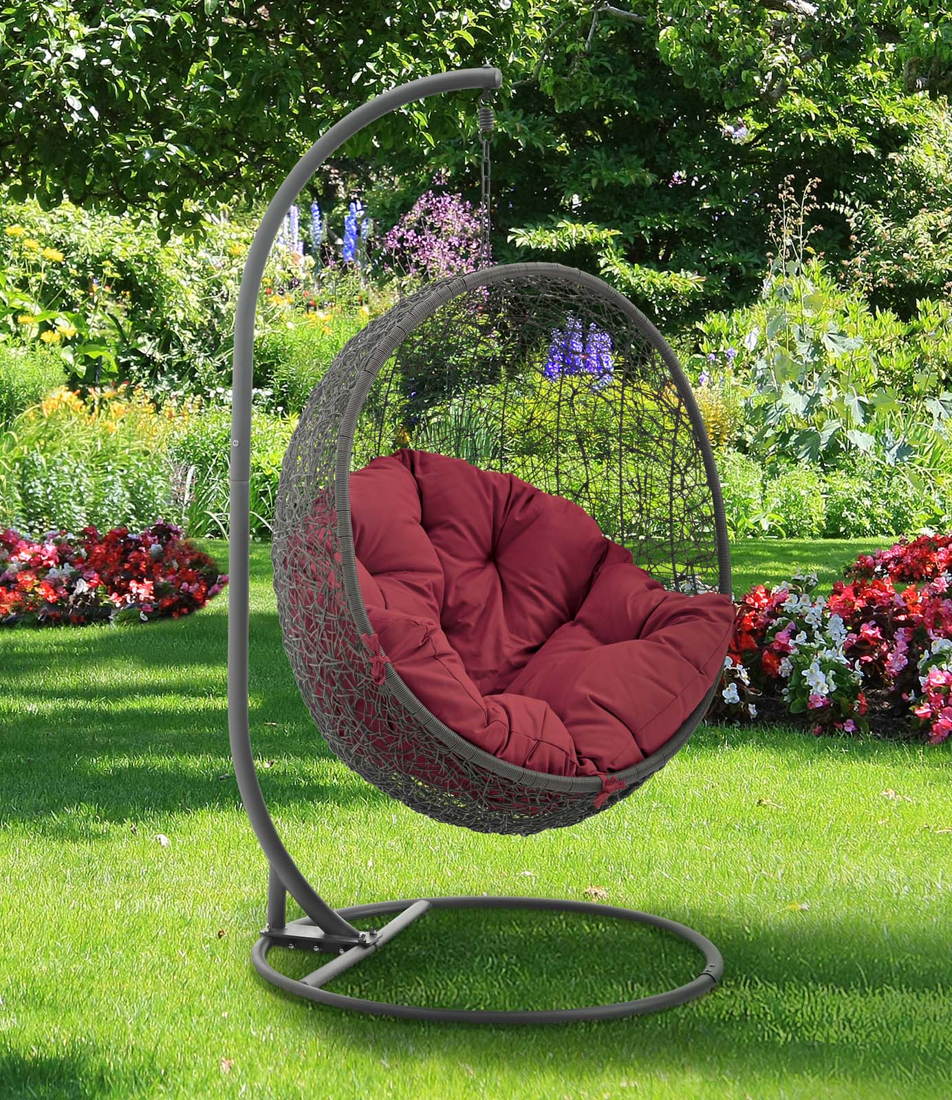 Hide Outdoor Patio Swing Chair With Stand Gray Red by Modern Living