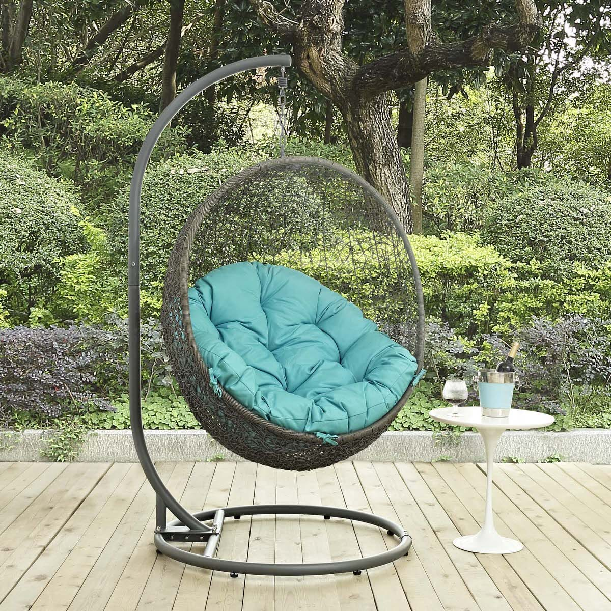 Hide Outdoor Patio Swing Chair With Stand Gray Turquoise By Modern Living