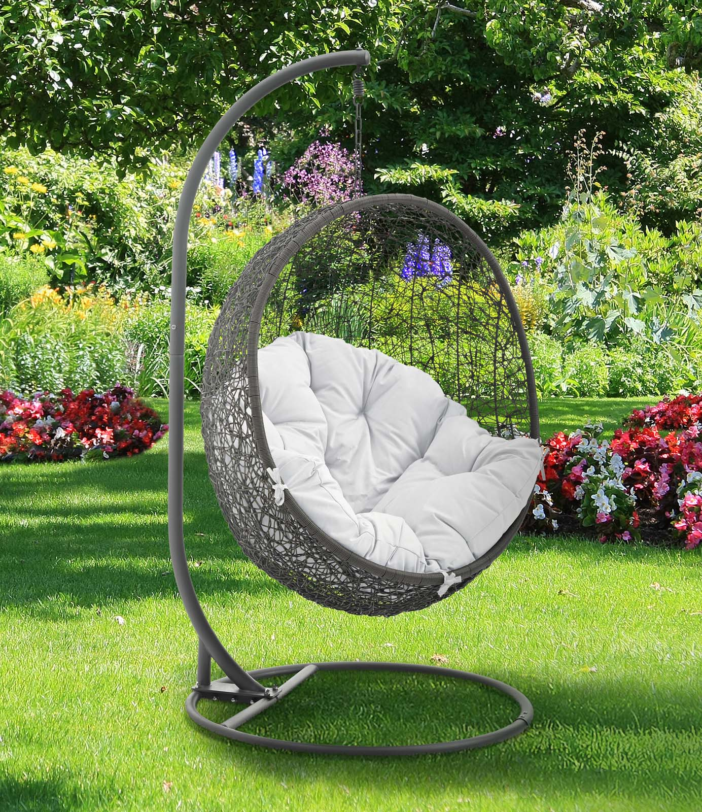 Hide Outdoor Patio Swing Chair With Stand Gray White by Modway