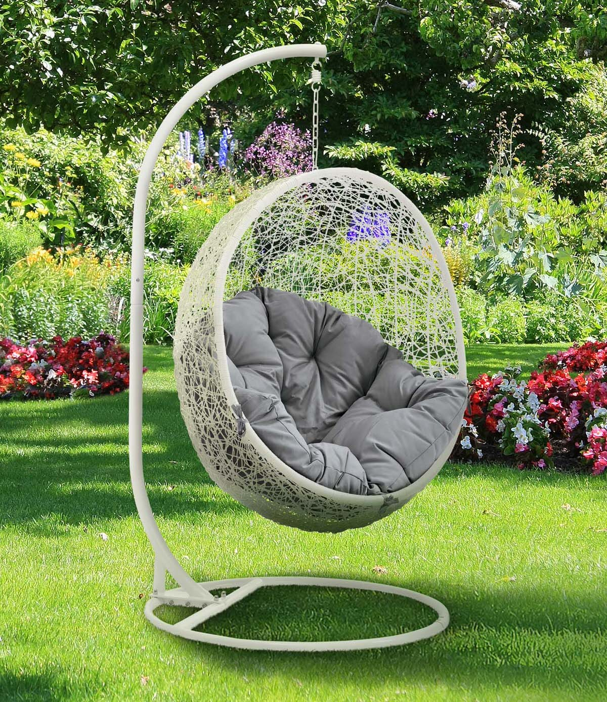 & Hide Outdoor Patio Swing Chair With Stand White Gray by Modern Living