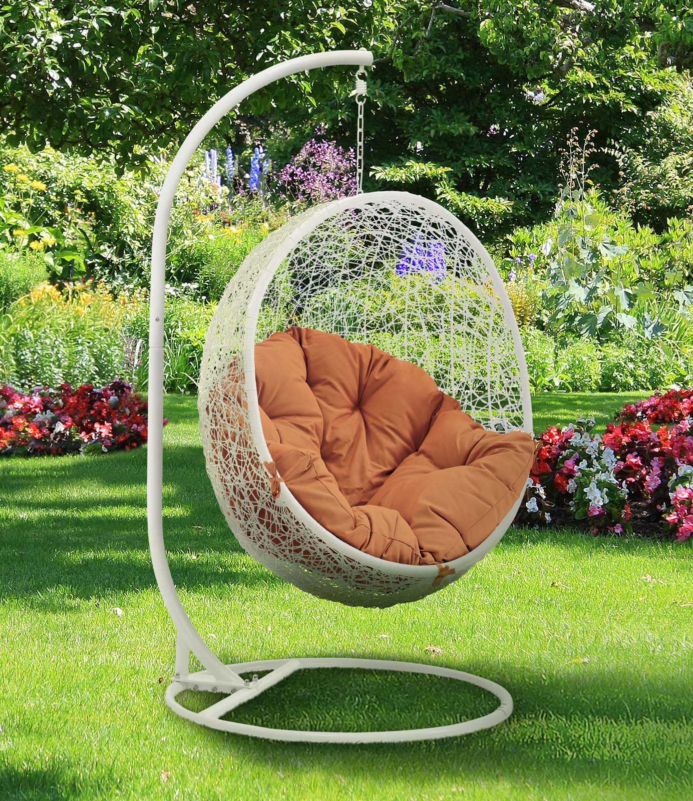 Hide Outdoor Patio Swing Chair With Stand White Orange by Modway