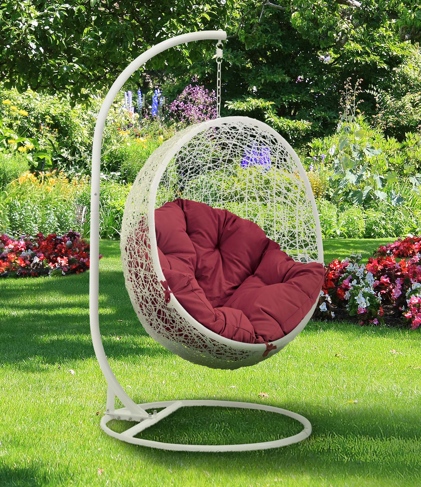 Hide Outdoor Patio Swing Chair With Stand White Red by Modern Living