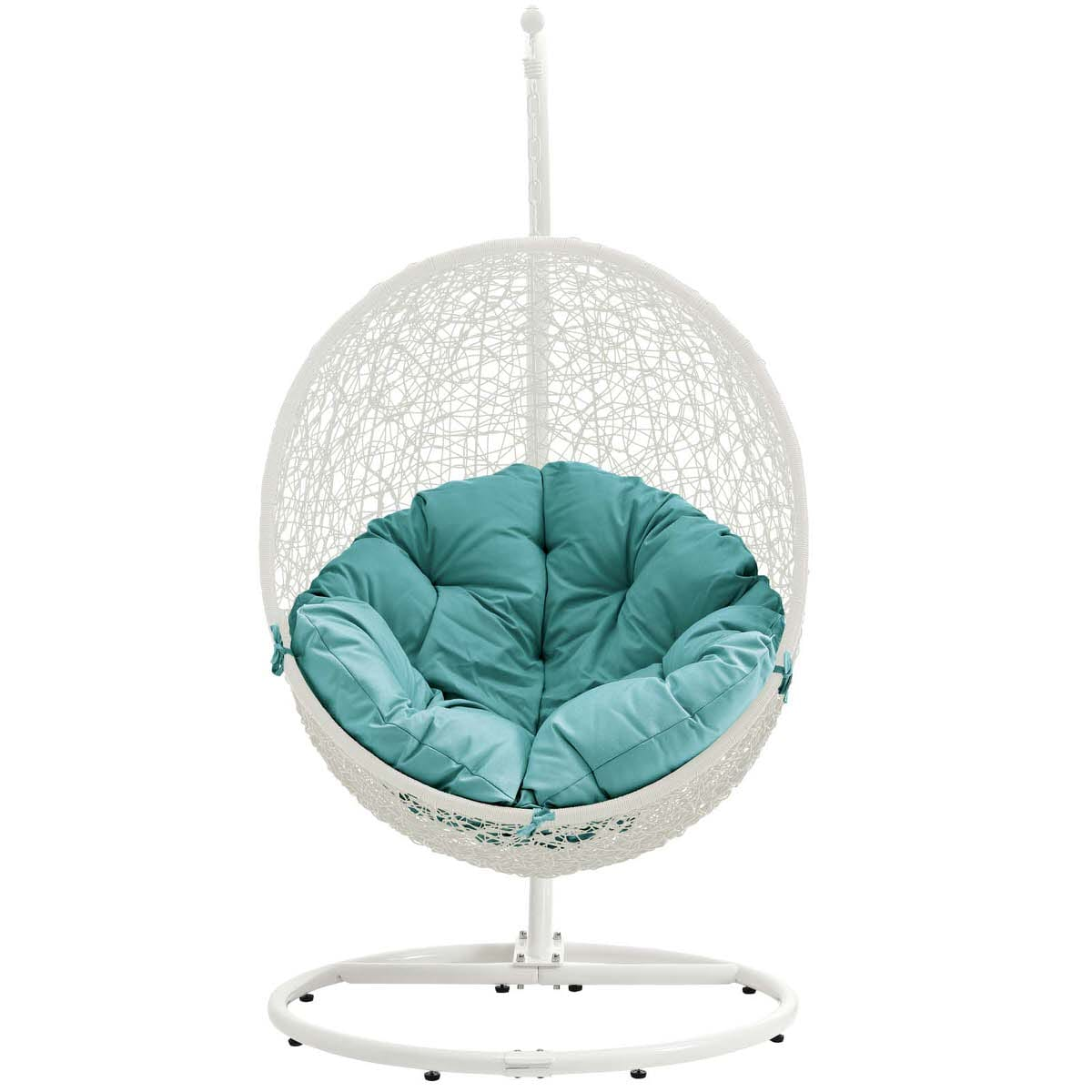 Hide Outdoor Patio Swing Chair With Stand White Turquoise