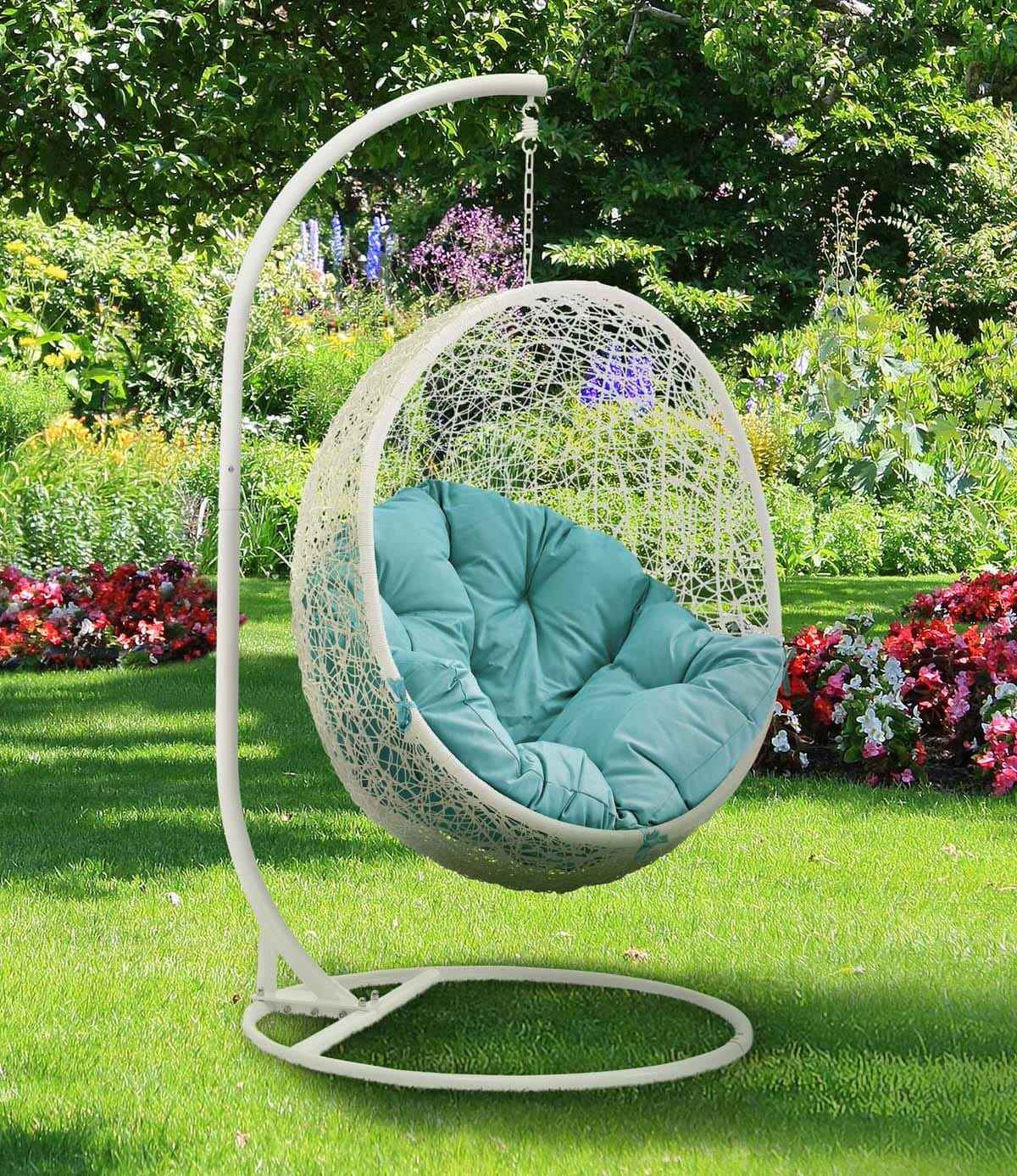 Hide Outdoor Patio Swing Chair With Stand White Turquoise By Modern Living