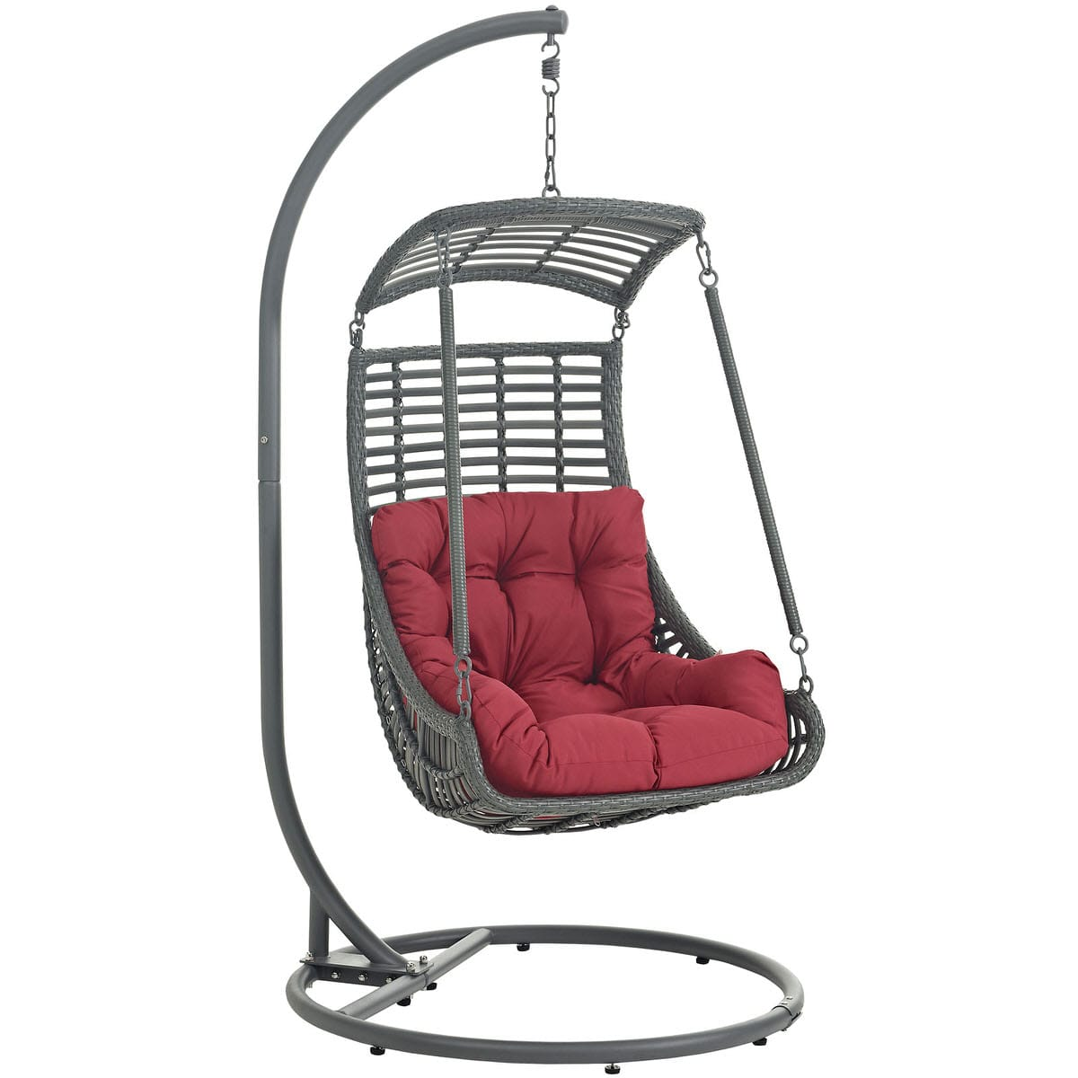 Jungle Outdoor Patio Swing Chair With Stand Red By Modern Living