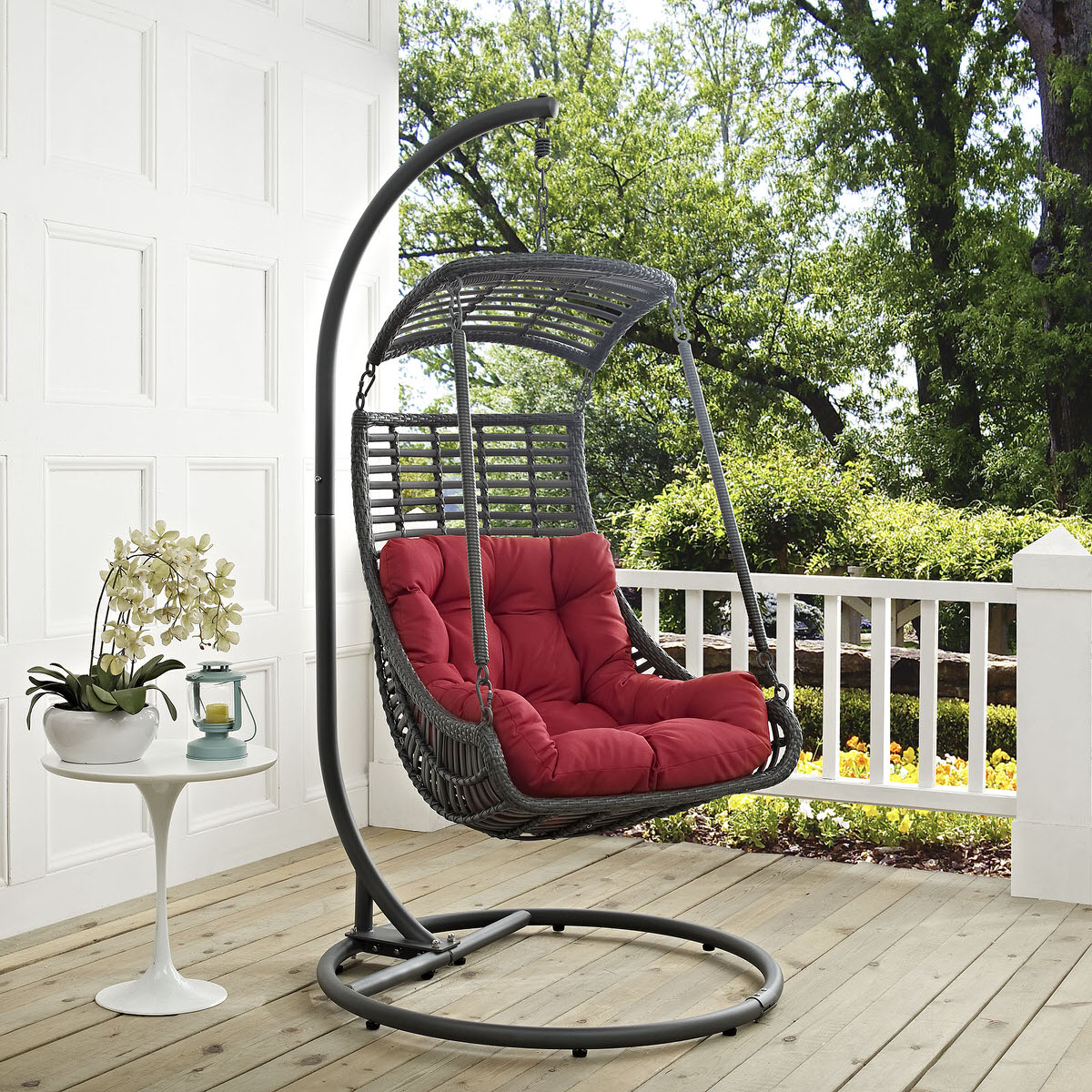 - Jungle Outdoor Patio Swing Chair With Stand Red By Modern Living