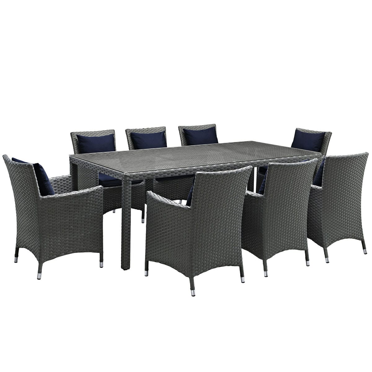 Sojourn 9 Piece Outdoor Patio Sunbrella Dining Set Canvas Navy by ...