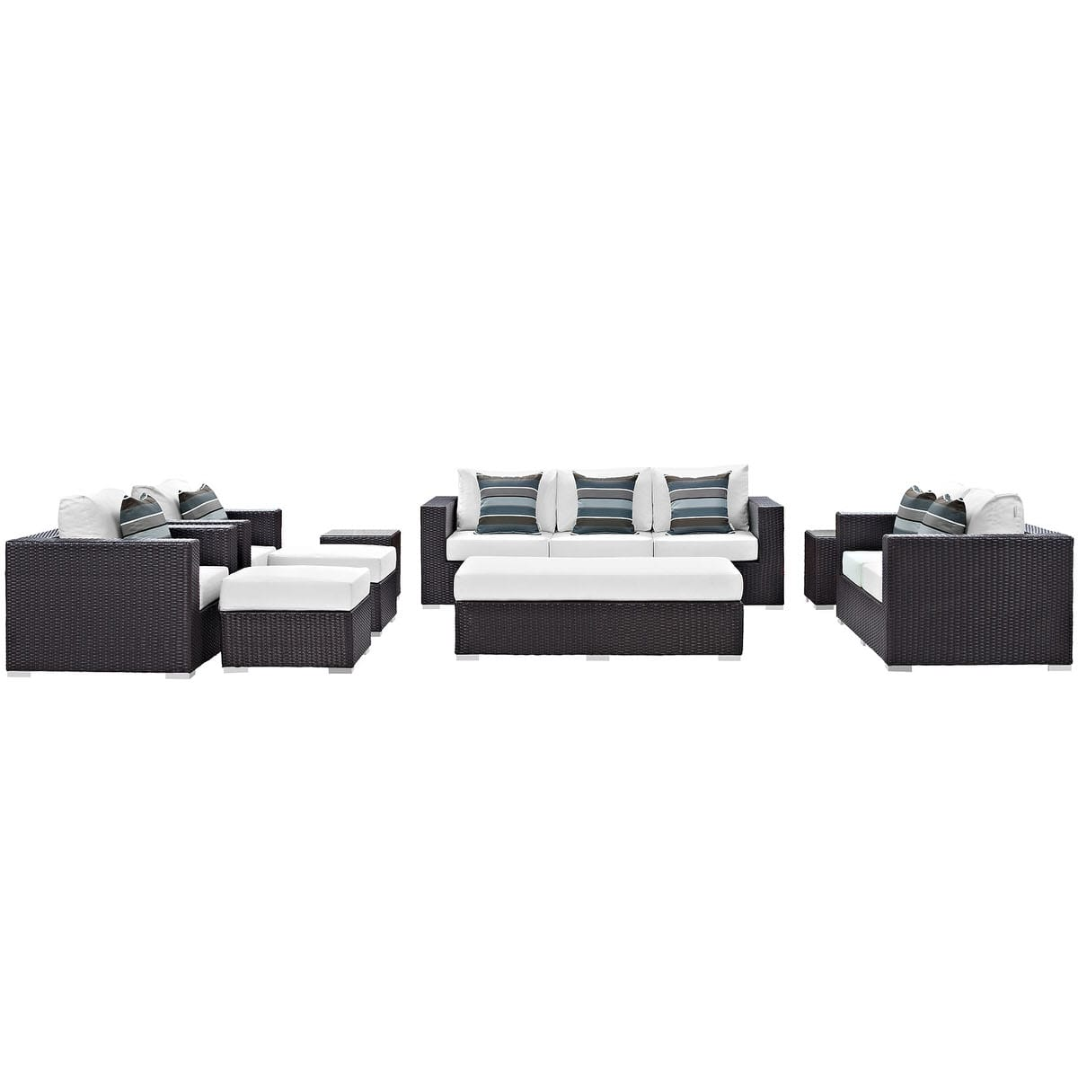 Convene 9 Piece Outdoor Patio Sofa Set Espresso White by Modern Living