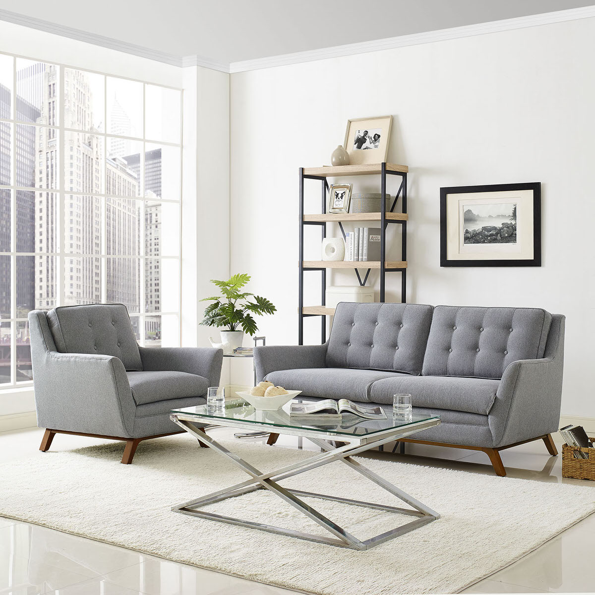 Beguile Living Room Set Upholstered Fabric Set of 2 Expectation Gray ...