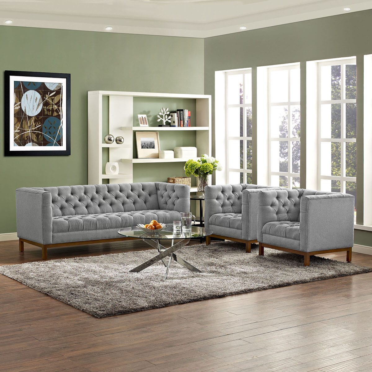 Panache Living Room Set Upholstered Fabric Set of 3 Expectation Gray ...