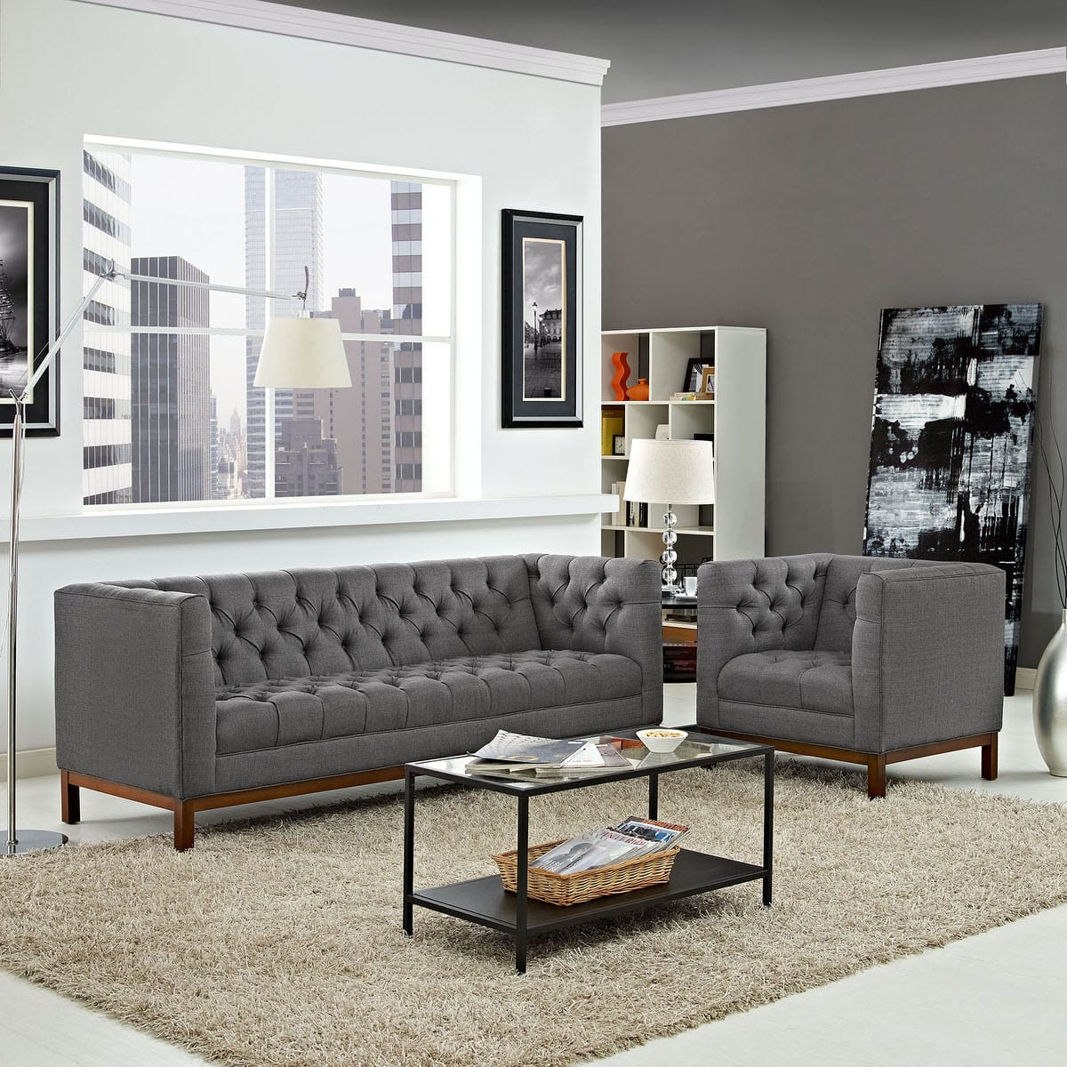 Panache Living Room Set Upholstered Fabric Set of 2 Gray by Modern Living