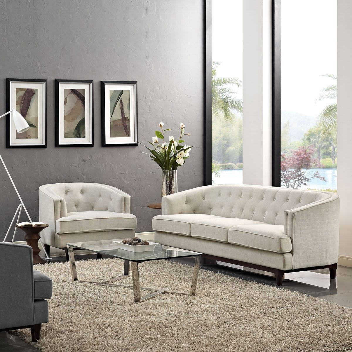Coast Living Room Set Set of 2 Beige by Modern Living