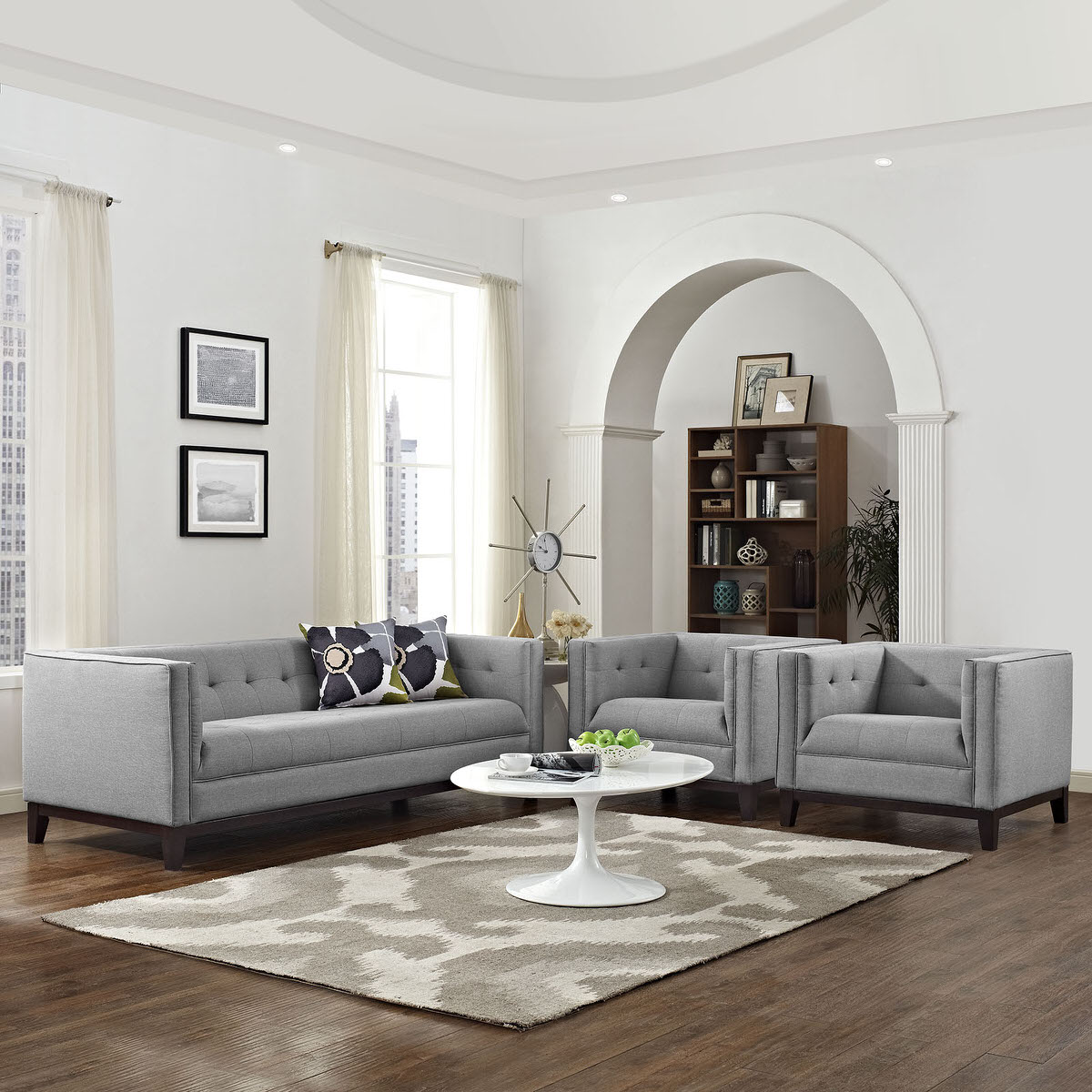 Serve Living Room Set Set of 3 Light Gray by Modern Living