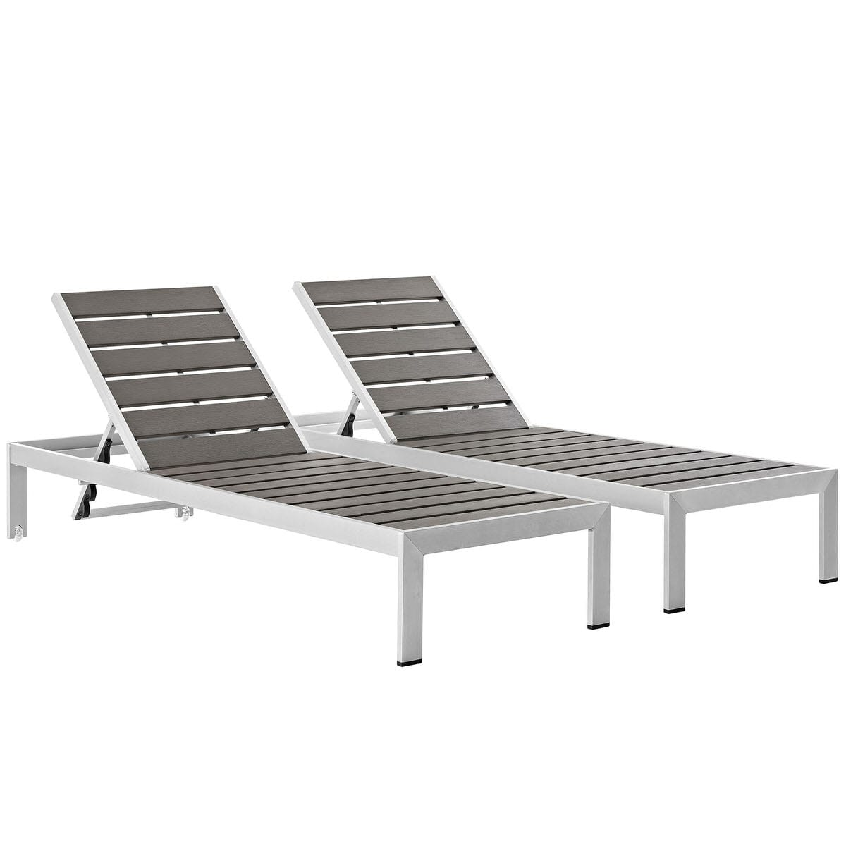 Incredible Shore Set Of 2 Outdoor Patio Aluminum Chaise Silver Gray By Modern Living Theyellowbook Wood Chair Design Ideas Theyellowbookinfo