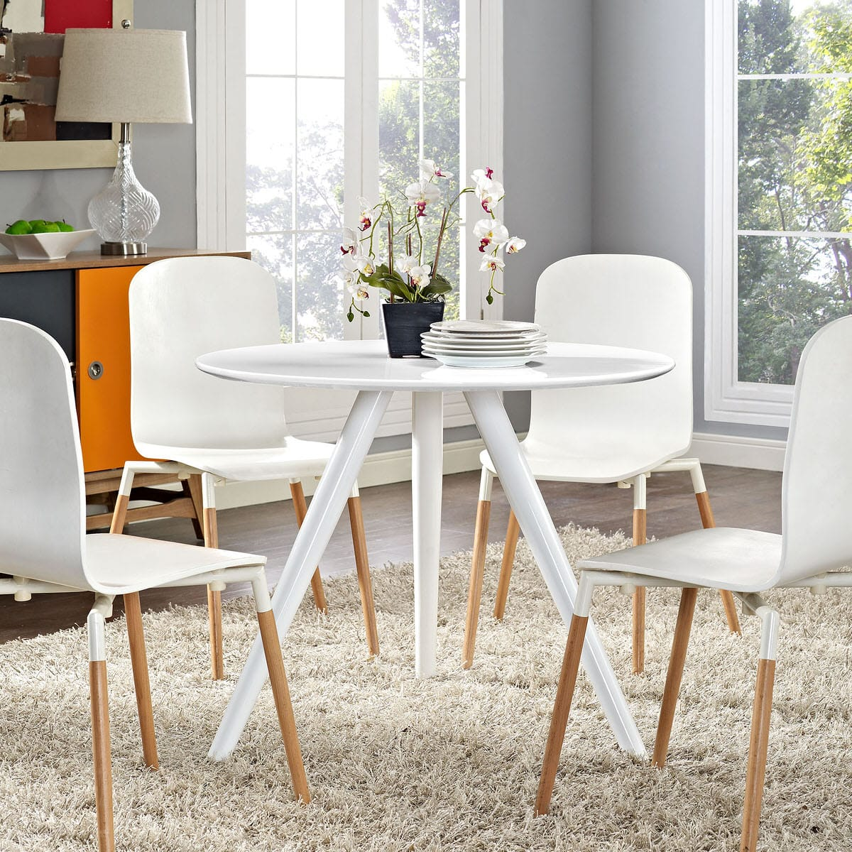 Lippa 36 Inch Round Wood Top Dining Table With Tripod Base White By Modern Living